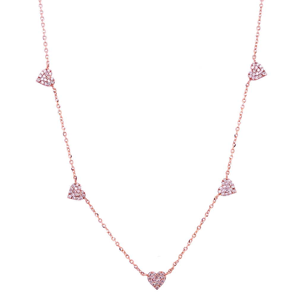 Diamond Pave Hearts Necklace 14K Gold