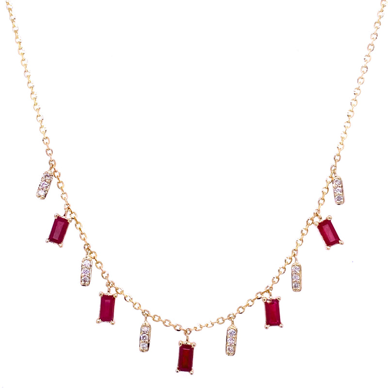 Color Stone Baguette and Diamond Bar Necklace 14K Yellow Gold