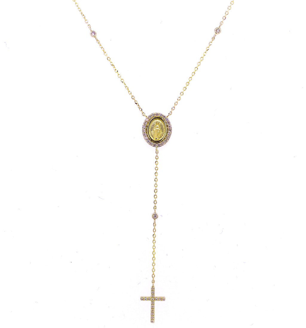 Diamond Miraculous Medal & Cross Lariat Necklace 14K Gold