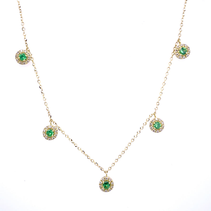 Dangling Color Stone Diamond Halos Necklace 14K Yellow Gold (Only one left in Sapphire)