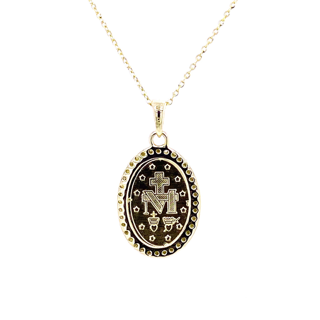 Medium Diamond Miraculous Medal Necklace 14K Gold