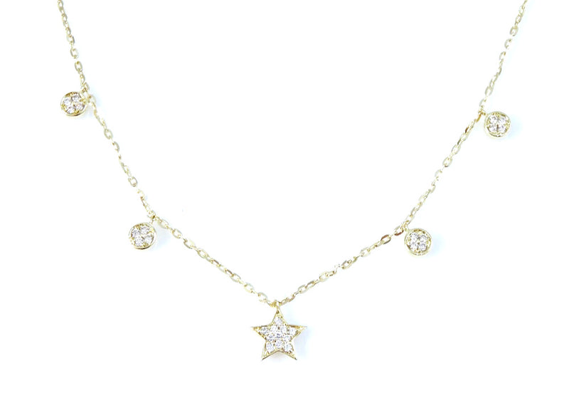 Diamond Star Choker 14K Gold