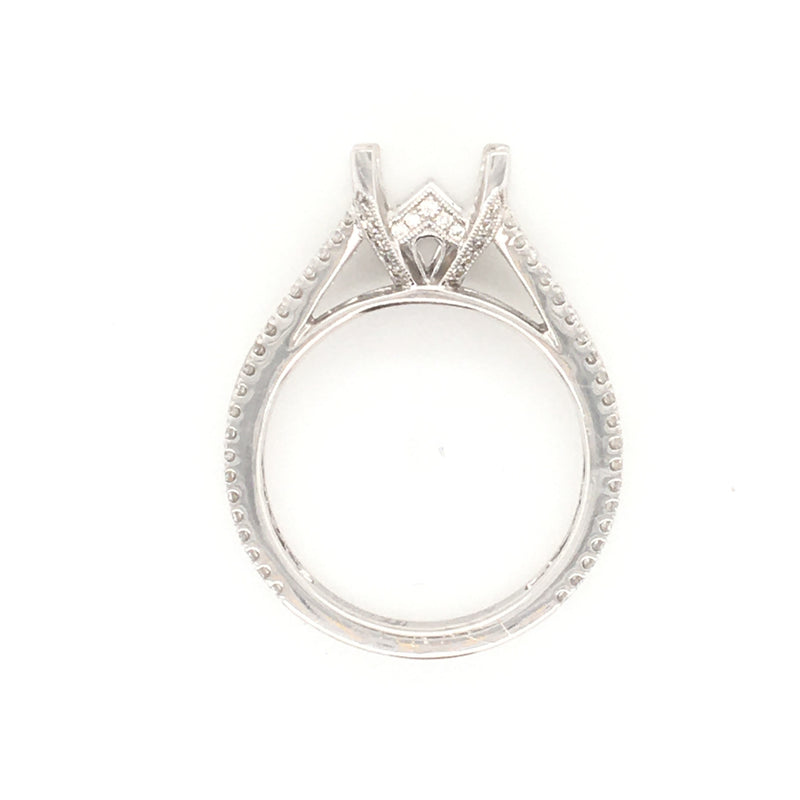 Petite Pave Diamond Setting in 18K White Gold