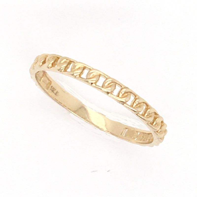 14K Yellow Gold, Miniature Curved Link Stackable Ring