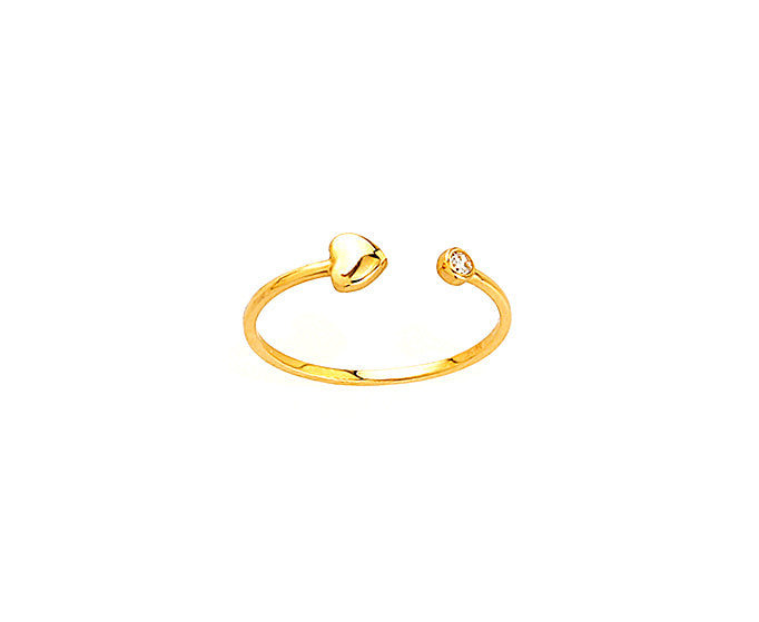 Open Heart Ring with CZ 14KY Gold