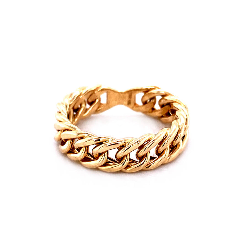 14K Yellow Gold Curve Link Rigid Chain Ring