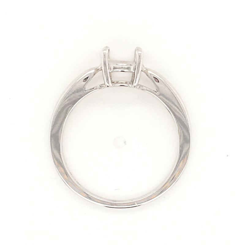 18K White Gold, Buble Shank, Basket Solitaire Engagement Ring