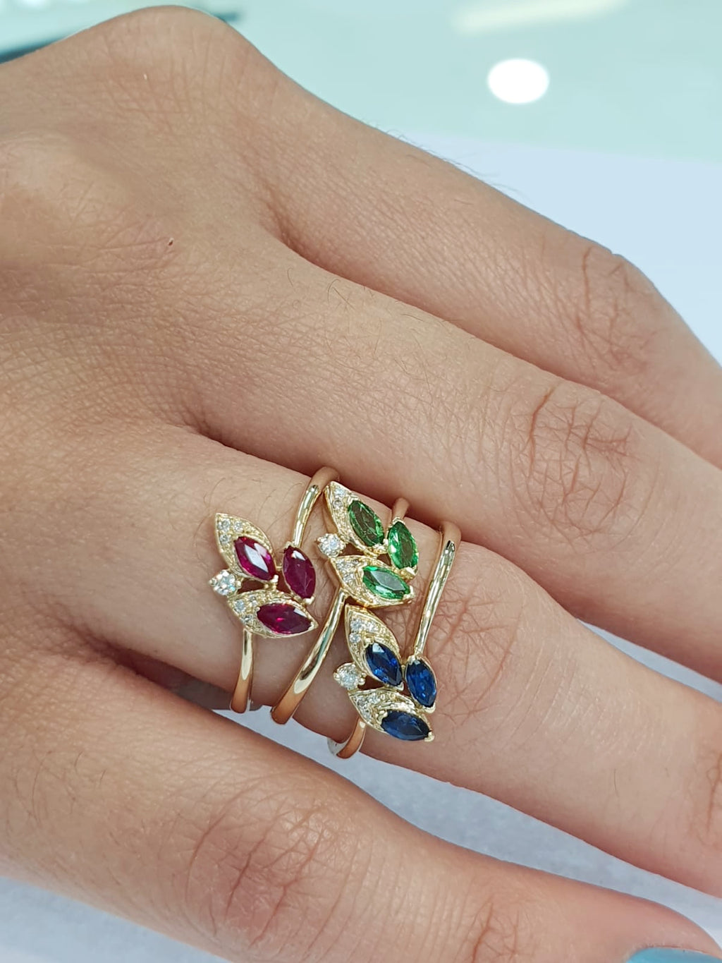 Wheat Inspired Design Color Stone & Diamond Ring 14 Karat Yellow Gold