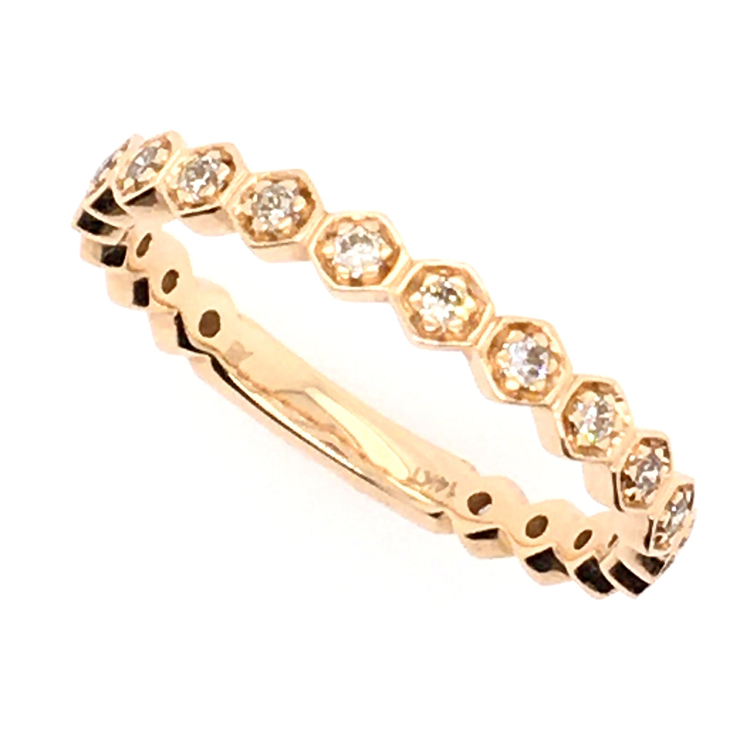 14K Gold Honeycomb Diamond Band Ring