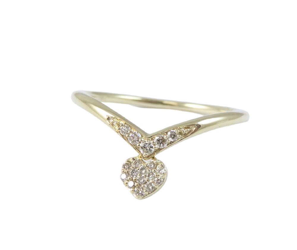 Heart Charm Diamond Ring 14K Gold