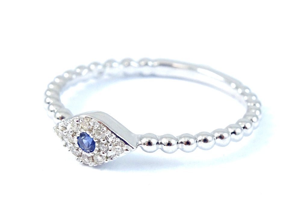 Miniature Evil Eye Diamond Ring on Beaded Band 14K