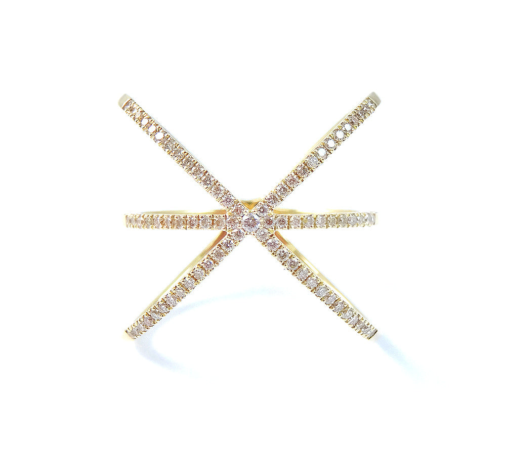 Diamond Cris-Cross Ring 14K Gold