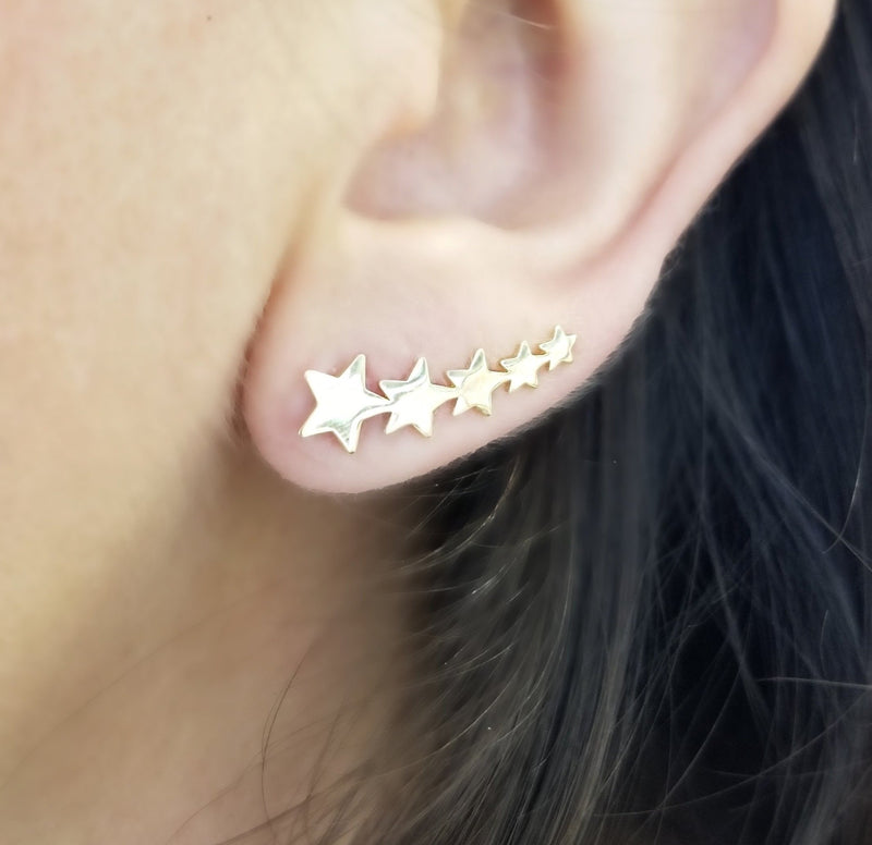 Stars Crawler Earrings 14K Yellow Gold