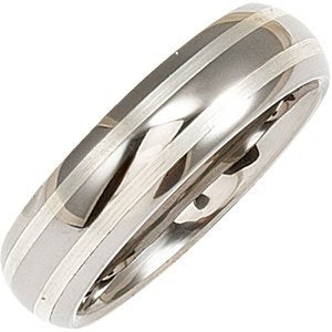 Men's White Tungsten 8.3 mm Grooved Band & Satin Finish