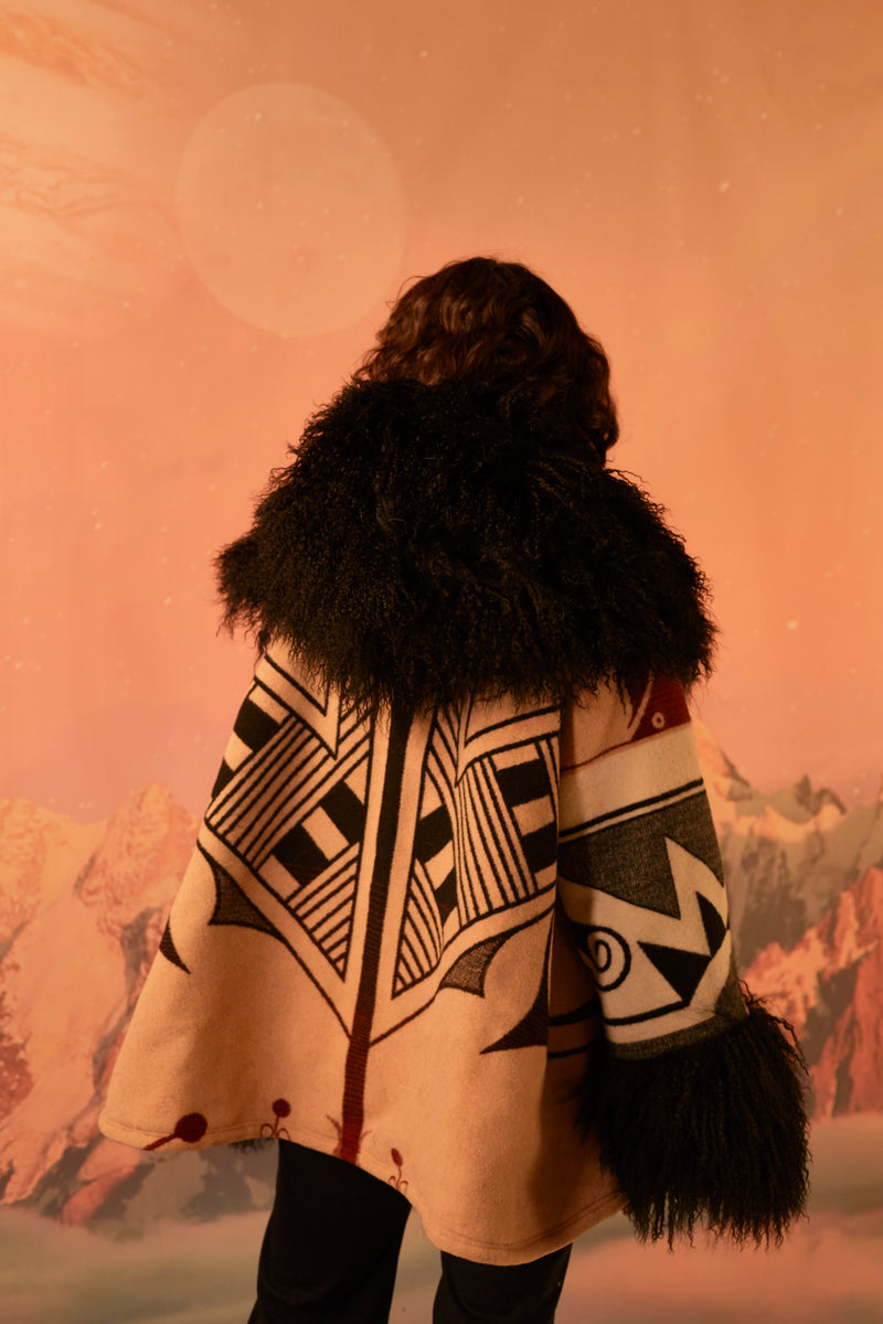 Center of Creation Shearling Cloak