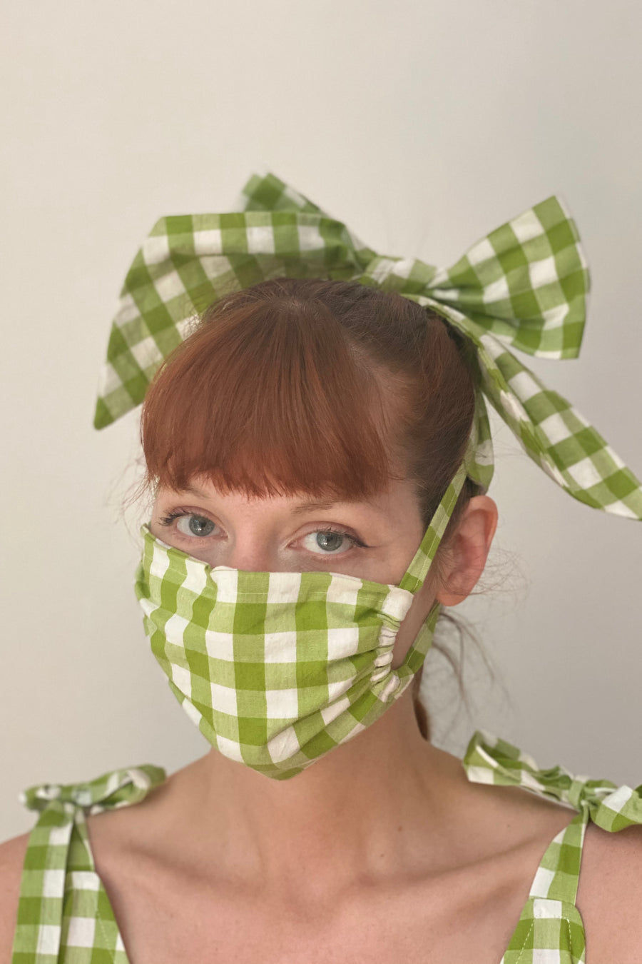 Green Gingham Masks