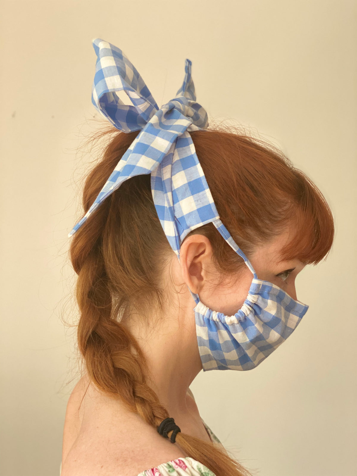 Blue and White Gingham Masks
