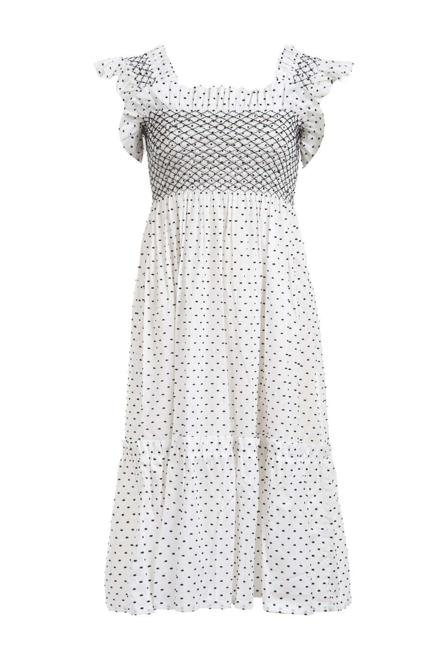 QUEENIE DRESS WHITE WITH BLACK SPOT