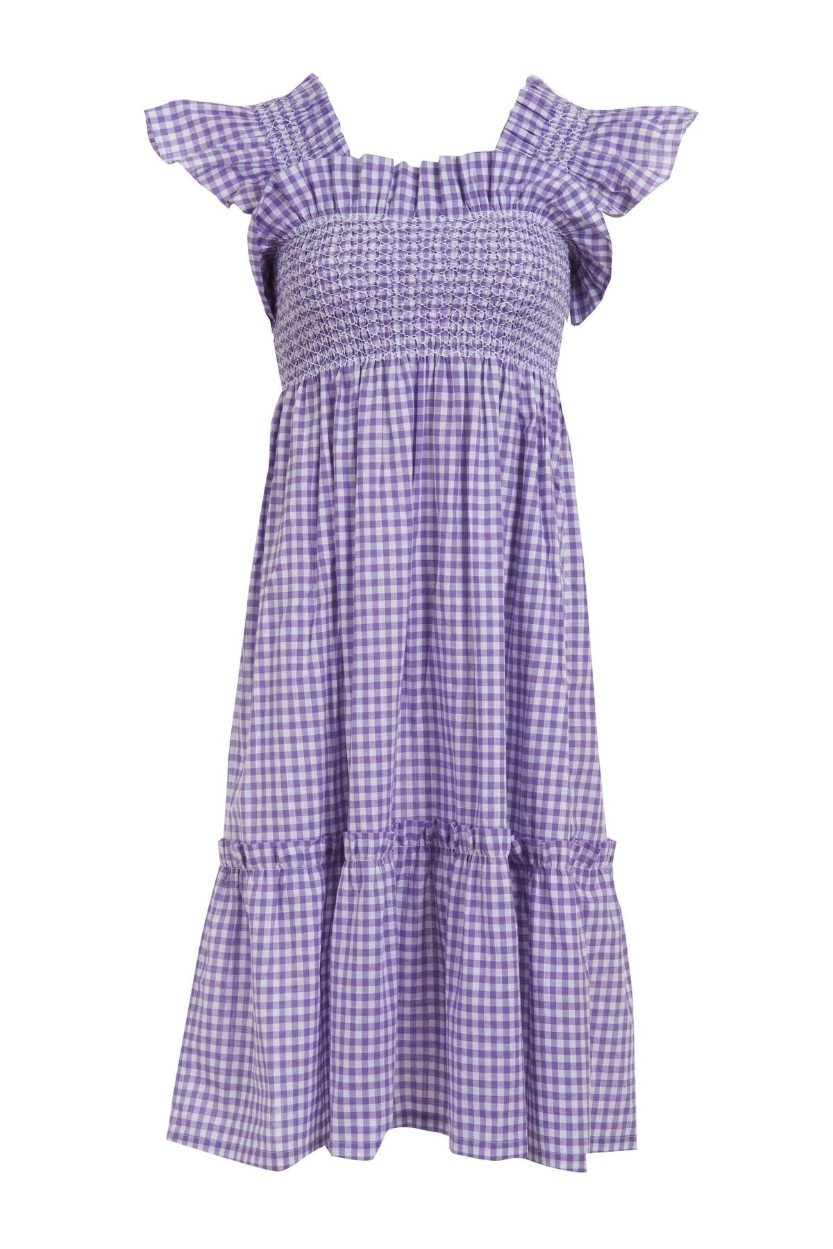Lilac Gingham Queenie Dress