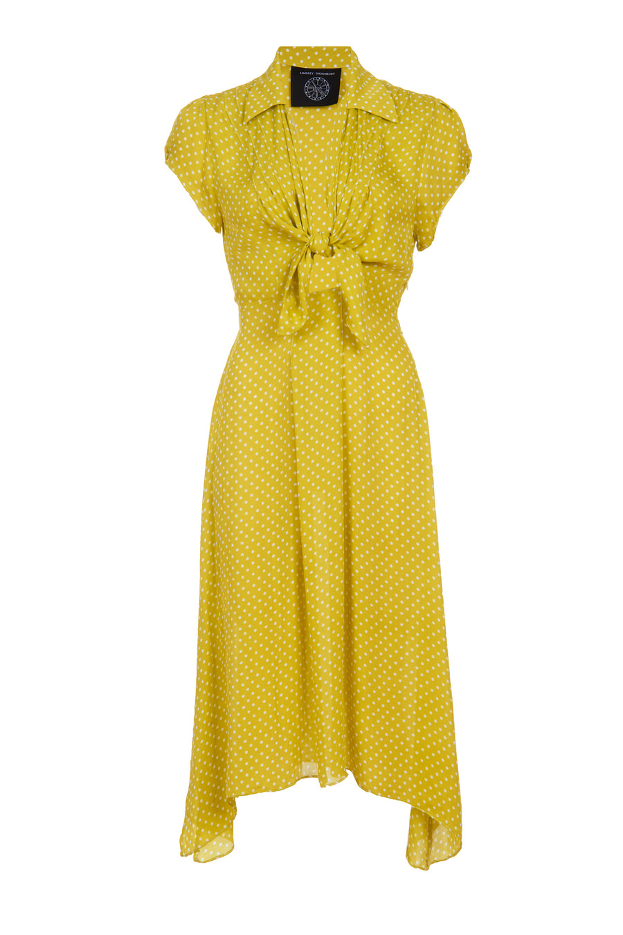 CHARTREUSE POLKA-DOT CLARK DRESS