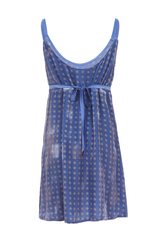 BLUE VELVET POLKADOT JUMPER DRESS