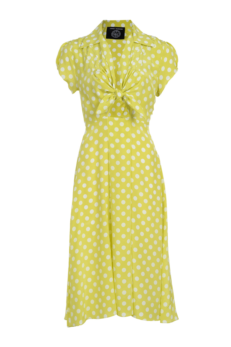 Clark Dress Chartreuse with Spots