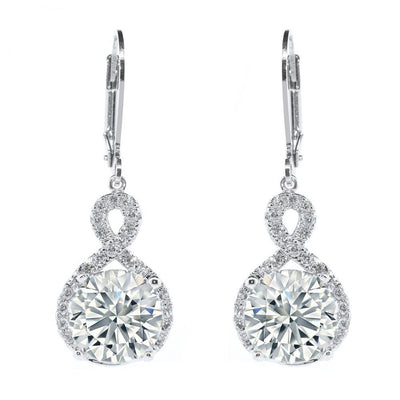 Cate & Chloe Alessandra 18k White Gold Plated CZ Infinity Drop Earrings