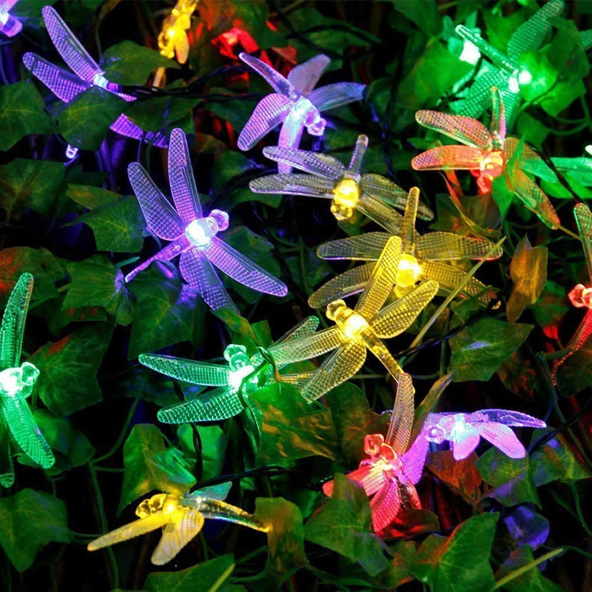 Solar Powered DragonFly LED Light String - Multi-Color