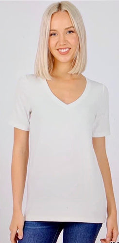 Ivory Essential V-Neck Tee