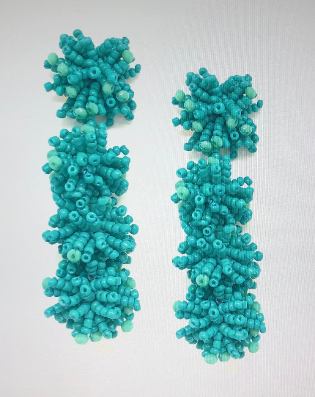 Malibu Beaded Cluster Drops Turquoise