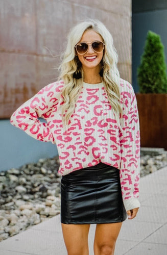 Meridith  Pink Leopard Sweater
