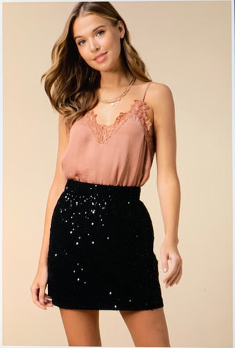 Sequin Skirt in Black