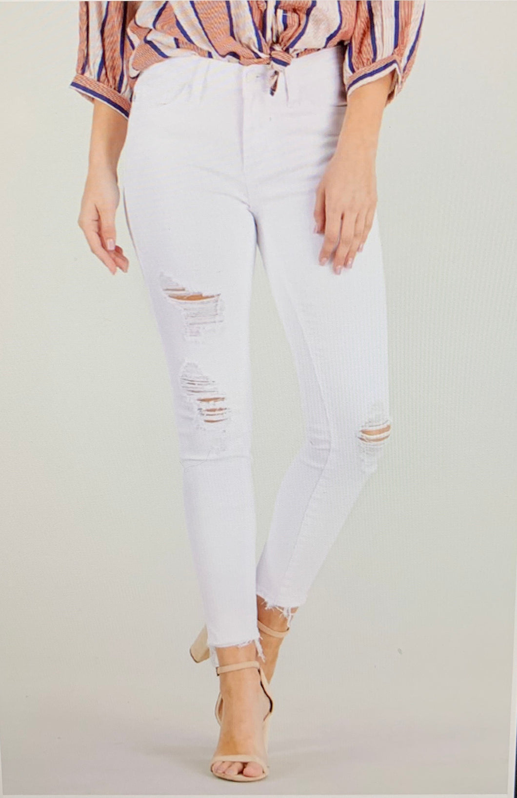 Jessica Distressed White Jeans