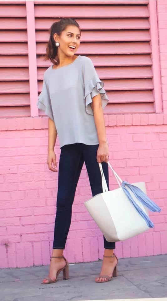 Anne Ruffle Sleeve Blouse