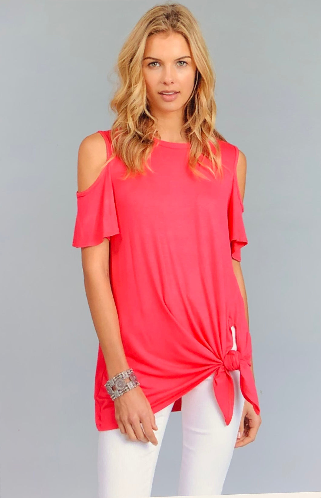 Livia Cold Shoulder Top in Fuchsia