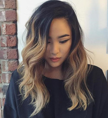 Black to Light Brown Ombre Waves