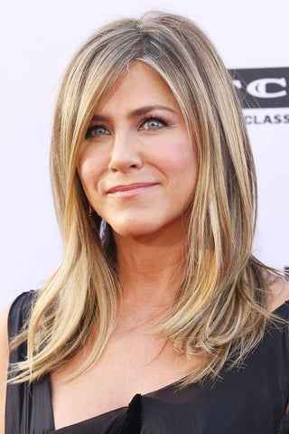 Jennifer Aniston hairstyles Blonde Highlight With Side Bang