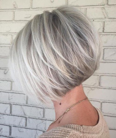 Silver Balayage Bob with Swoopy Layers