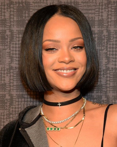 Rihanna center parted bob