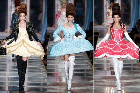 Moschino hairstylists also choose up-do hair to express their collection. However, they took the cues from Marie Antoinette