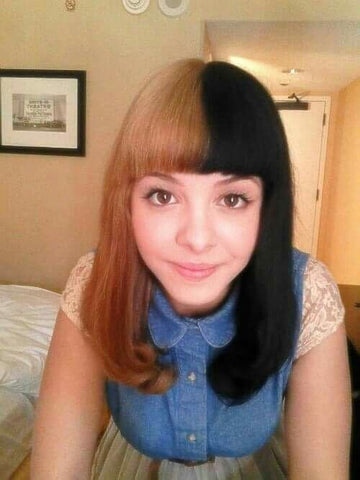 Melanie Martinez seems to be more open and confident about her natural look. Bright eyes and half brown, half black hair is so lovely.