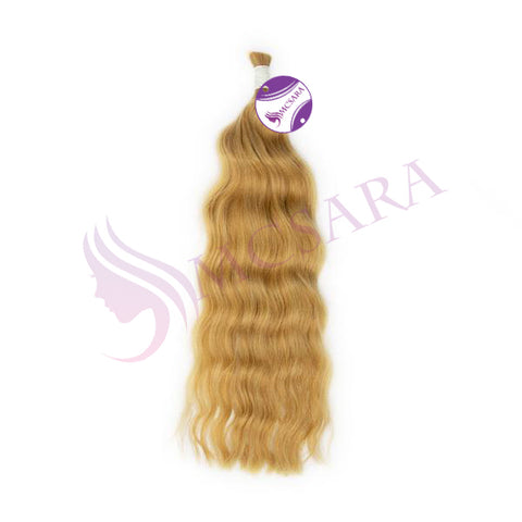 Bulk body wavy hair extension color #18c