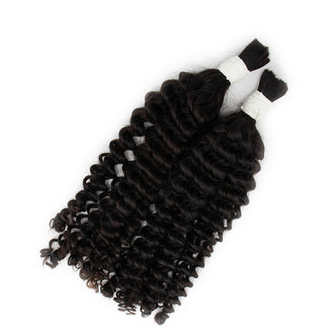 Bulk curly hair extensions black color A