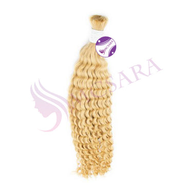 Bulk curly hair extensions blonde color A+ - MCSARA HAIR