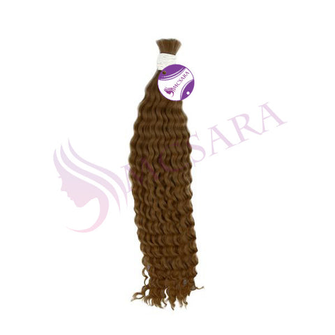 Bulk curly hair light brown color A+