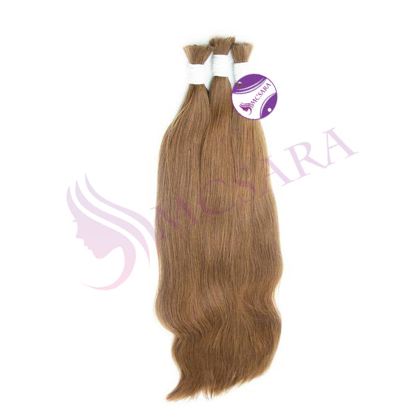 Bulk hair straight light brown color A