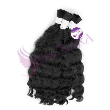 Bulk wavy hair extensions black color A