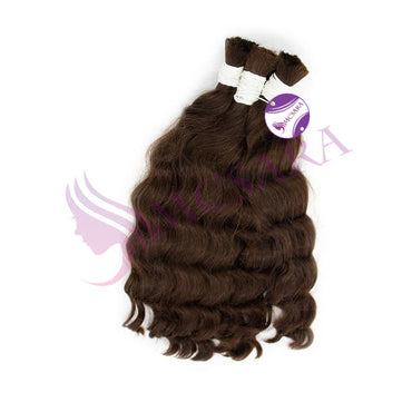 Bulk wavy hair brown color A+
