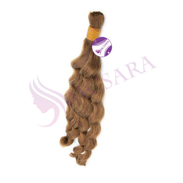 Bulk wavy hair light brown color A++