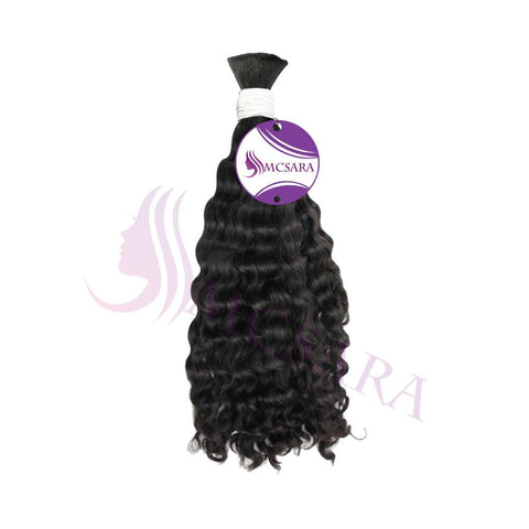 Bulk Deep wavy hair black color A++ - MCSARA HAIR